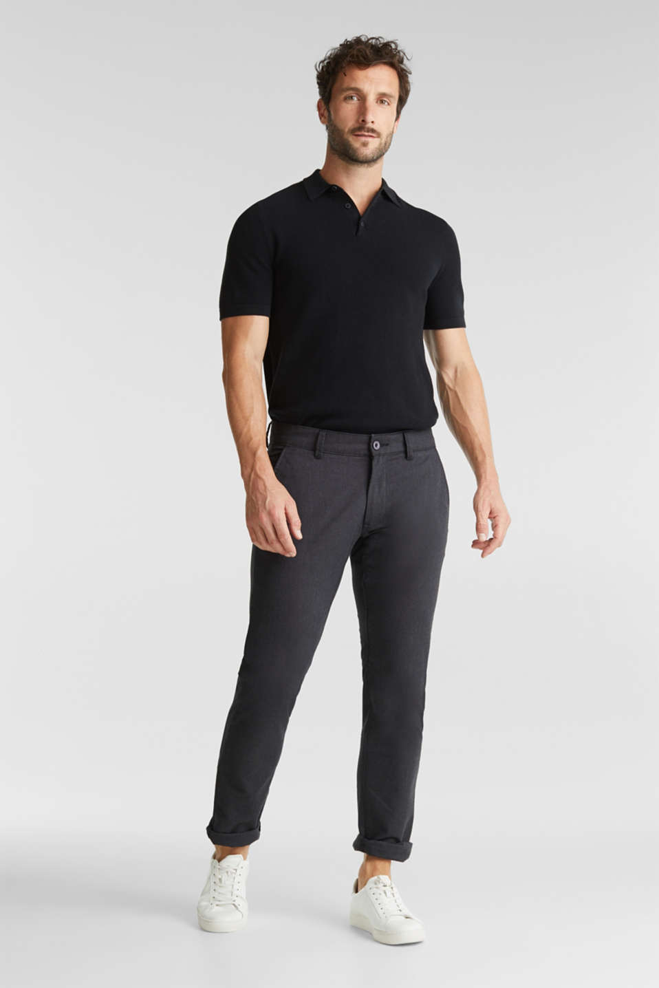 Stretch twill trousers with a belt, ANTHRACITE, detail image number 4