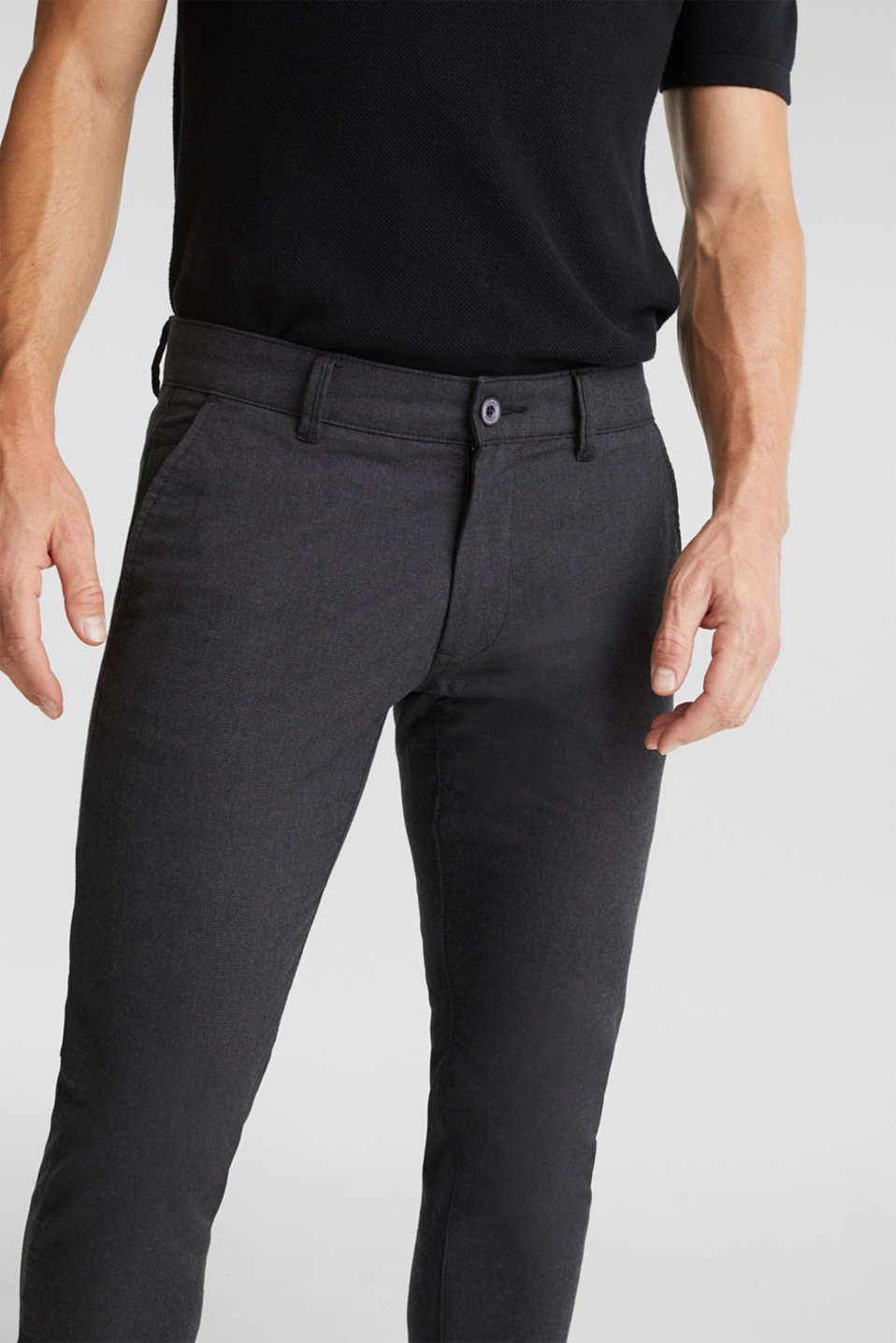 Stretch twill trousers with a belt, ANTHRACITE, detail image number 1