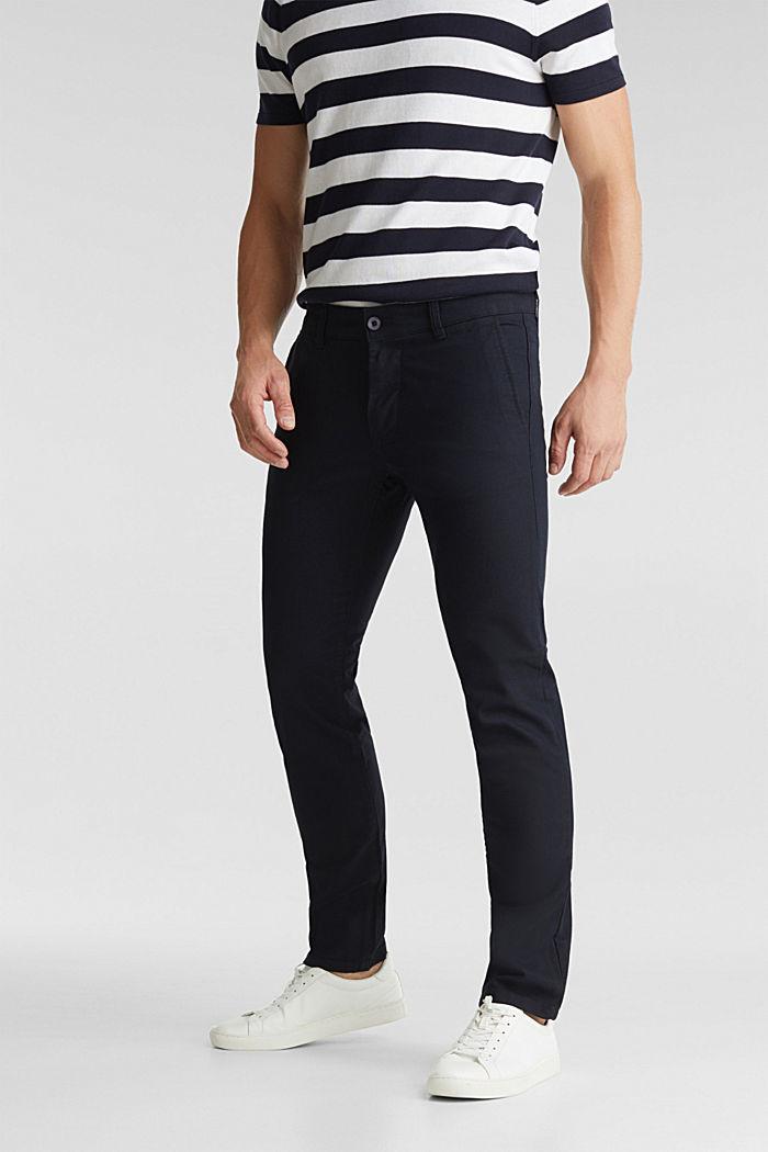 Pantalones cepillados con textura, NAVY, detail image number 0