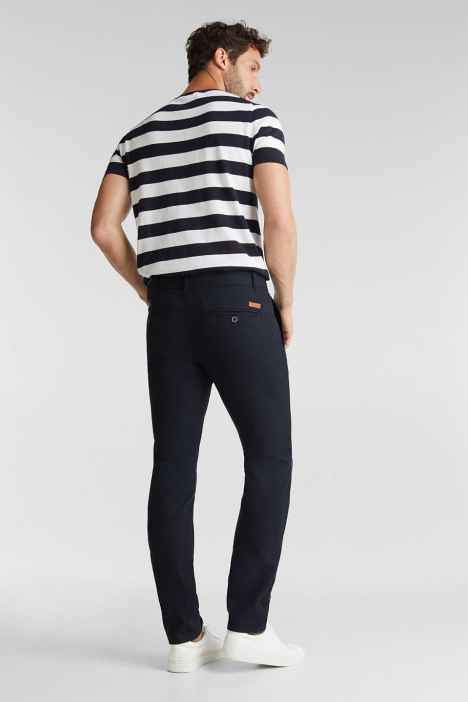 Stretch twill trousers with a belt, NAVY, detail image number 3