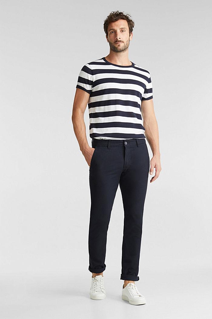 Pantalones cepillados con textura, NAVY, detail image number 1
