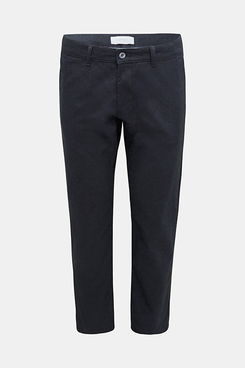 Stretch twill trousers with a belt