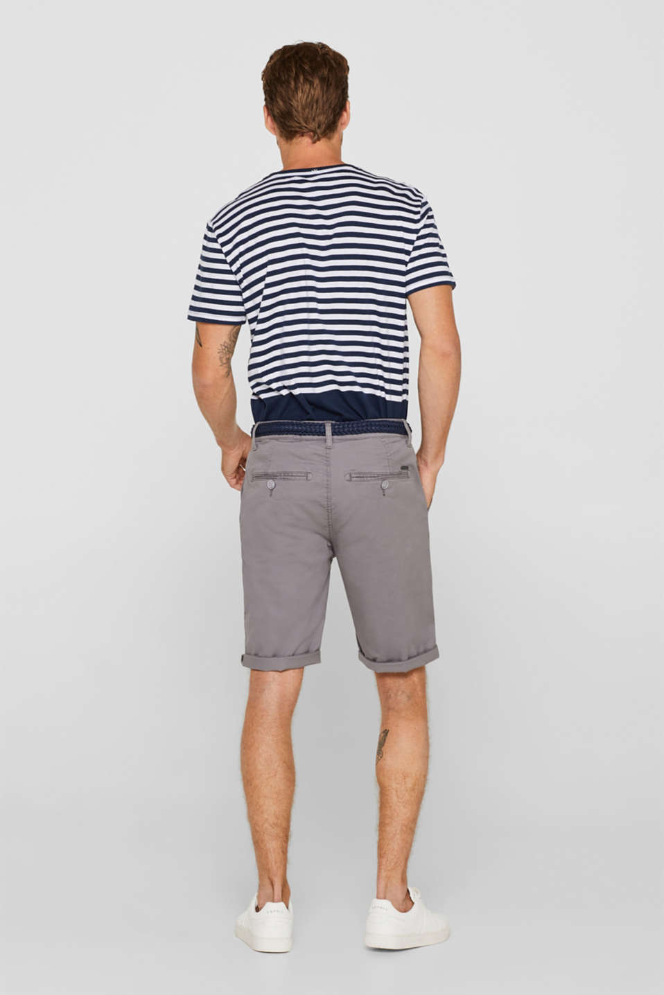 Chino shorts with a braided belt, GREY, detail image number 3