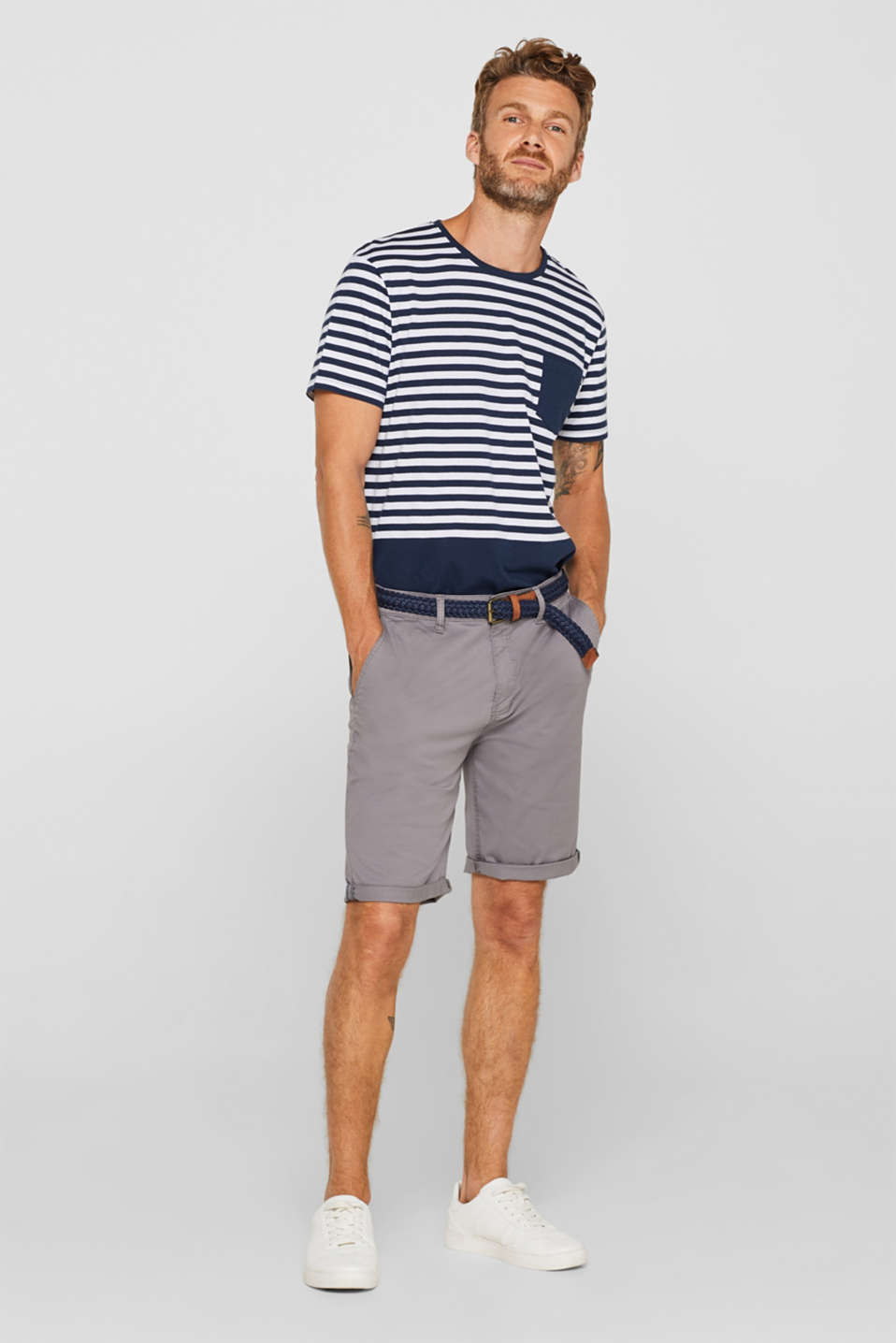 Chino shorts with a braided belt, GREY, detail image number 1
