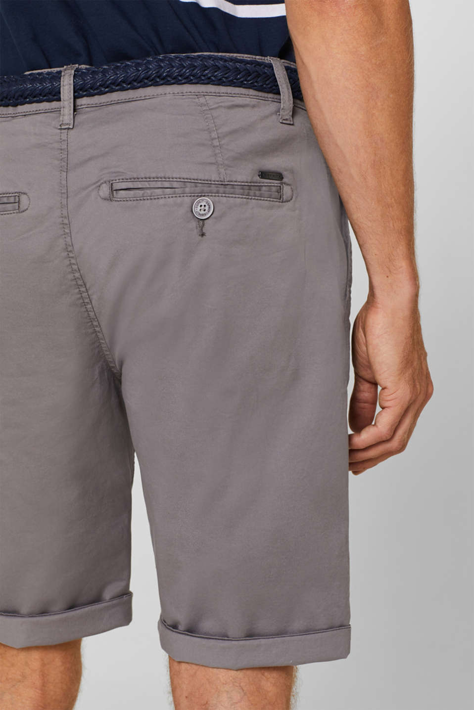 Chino shorts with a braided belt, GREY, detail image number 2