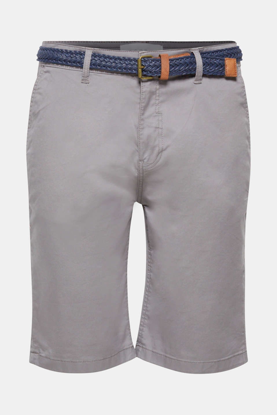Chino shorts with a braided belt, GREY, detail image number 5