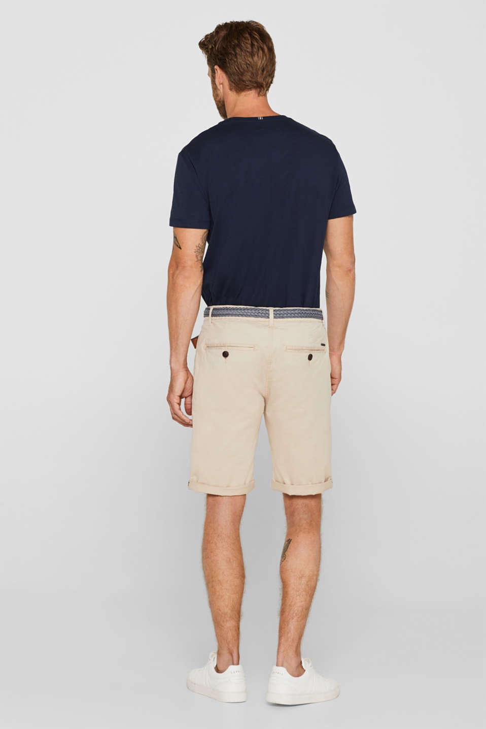 Chino shorts with a braided belt, LIGHT BEIGE, detail image number 3