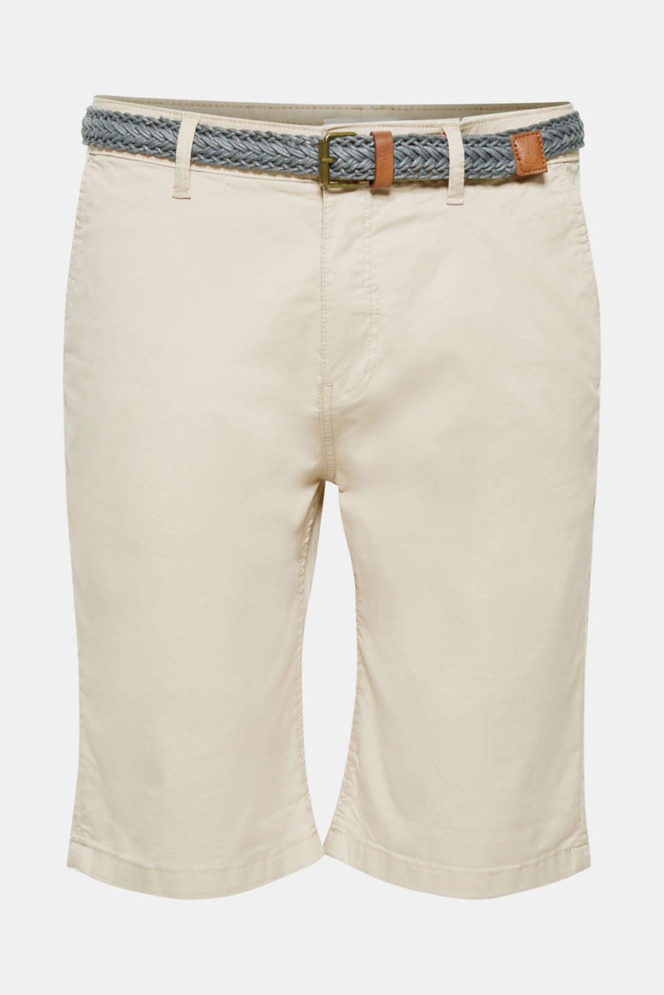Chino shorts with a braided belt, LIGHT BEIGE, detail image number 5