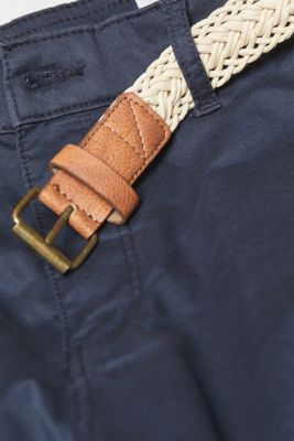 Chino shorts with a braided belt, NAVY, detail
