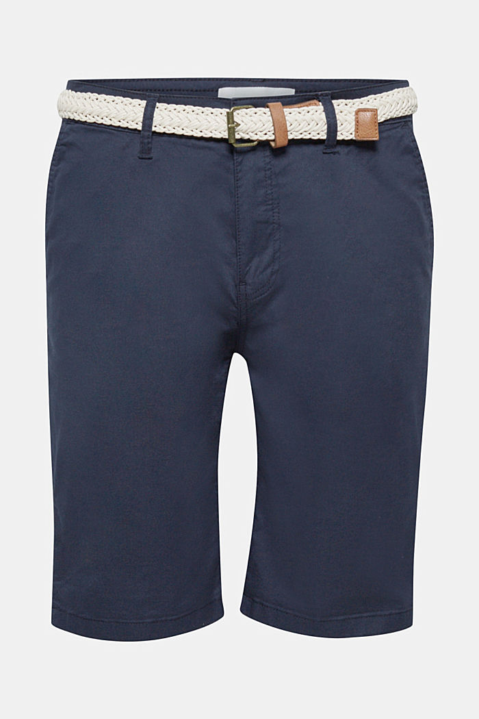 Chino shorts with a braided belt, NAVY, detail image number 0