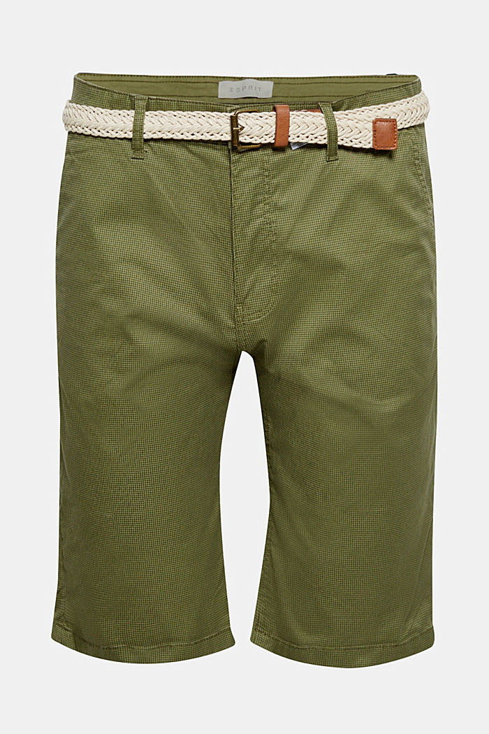 Cotton shorts with organic cotton, OLIVE, overview