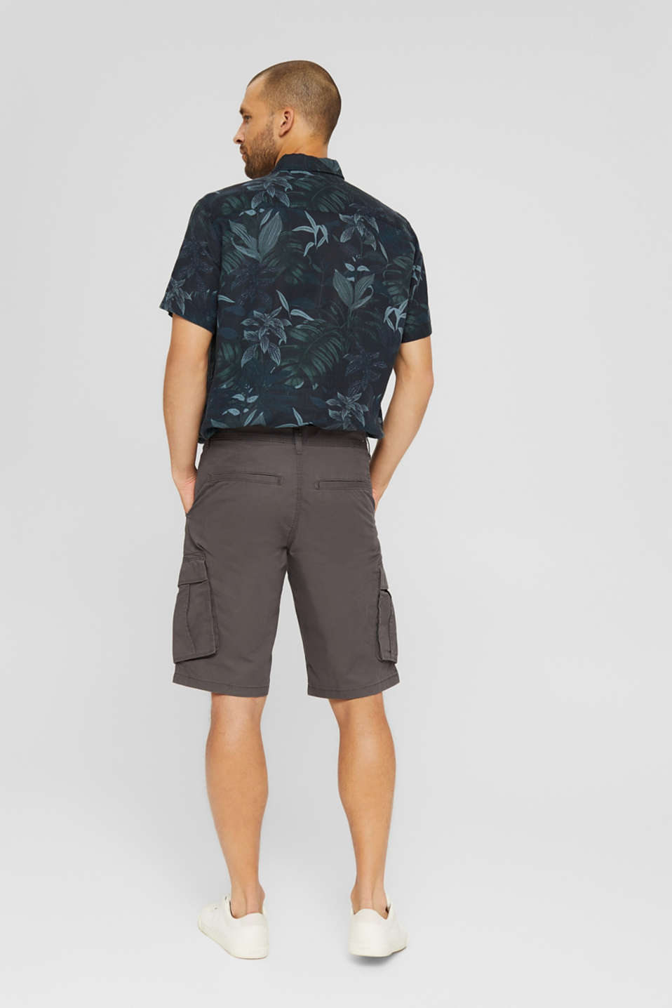 Cargo shorts in 100% cotton, DARK GREY, detail image number 3