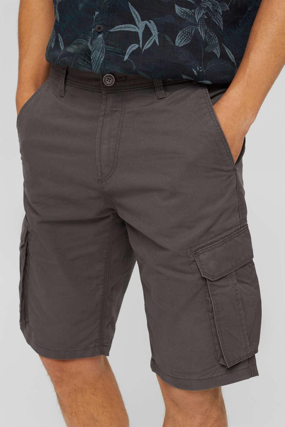 Cargo shorts in 100% cotton, DARK GREY, detail image number 2