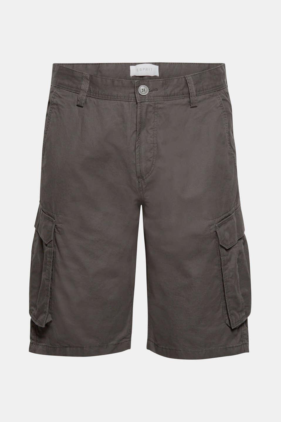 Cargo shorts in 100% cotton, DARK GREY, detail image number 6