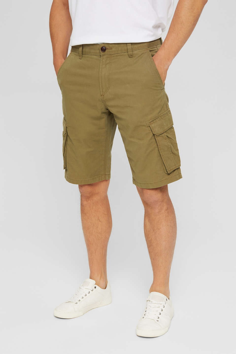 Cargo shorts in 100% cotton, OLIVE, detail image number 0