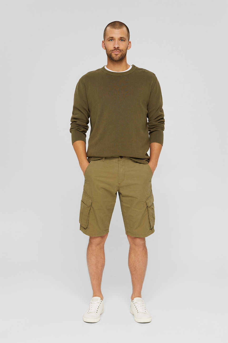 Shorts woven Relaxed fit, OLIVE, detail image number 1