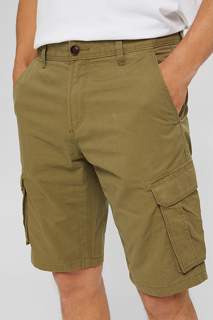 Pantaloncini stile cargo in 100% cotone, OLIVE, detail image number 2