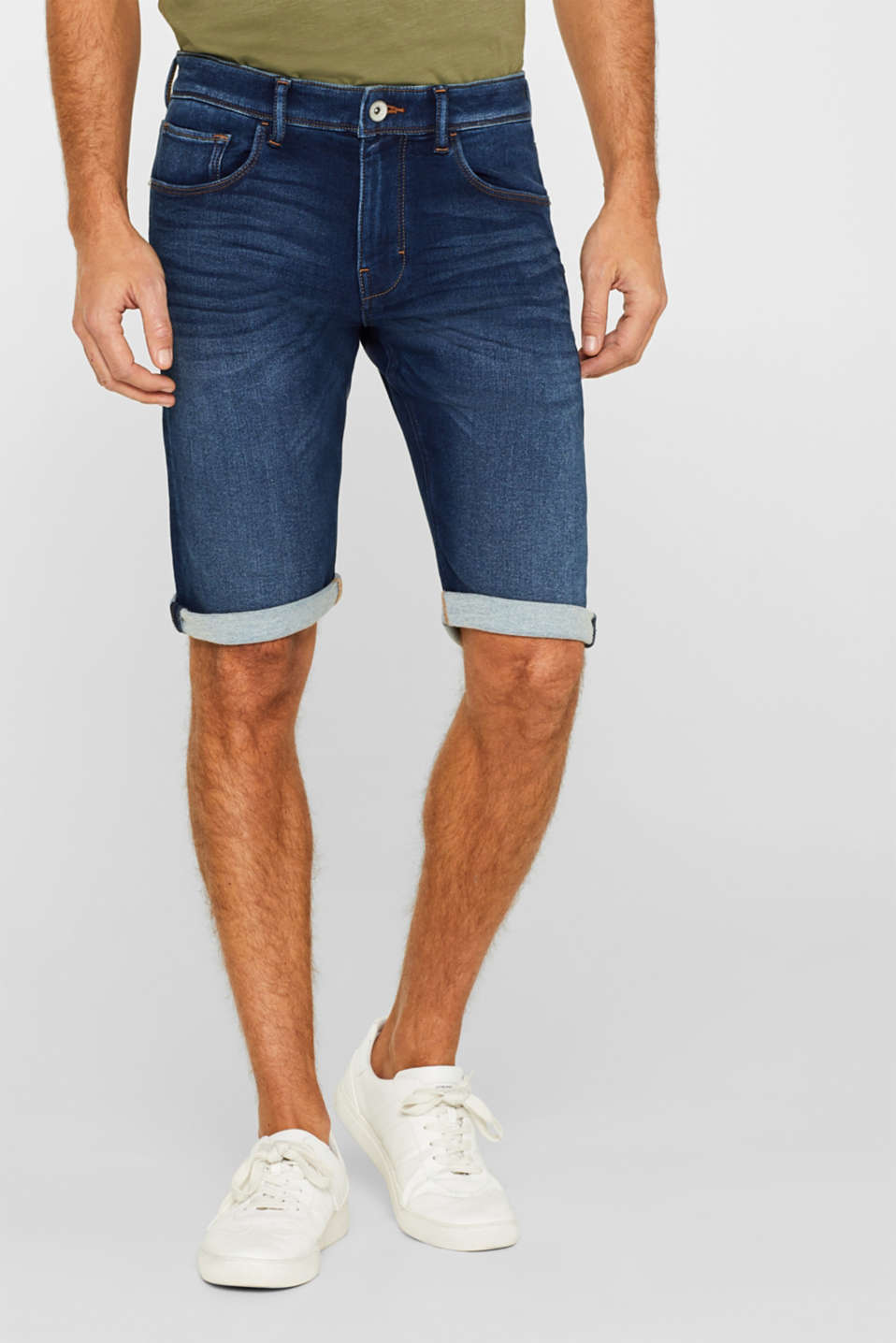 Esprit - Denimshorts med superstretch i jogger-kvalitet