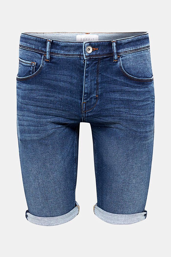 Super stretch denim shorts in tracksuit fabric, BLUE MEDIUM WASHED, detail image number 0