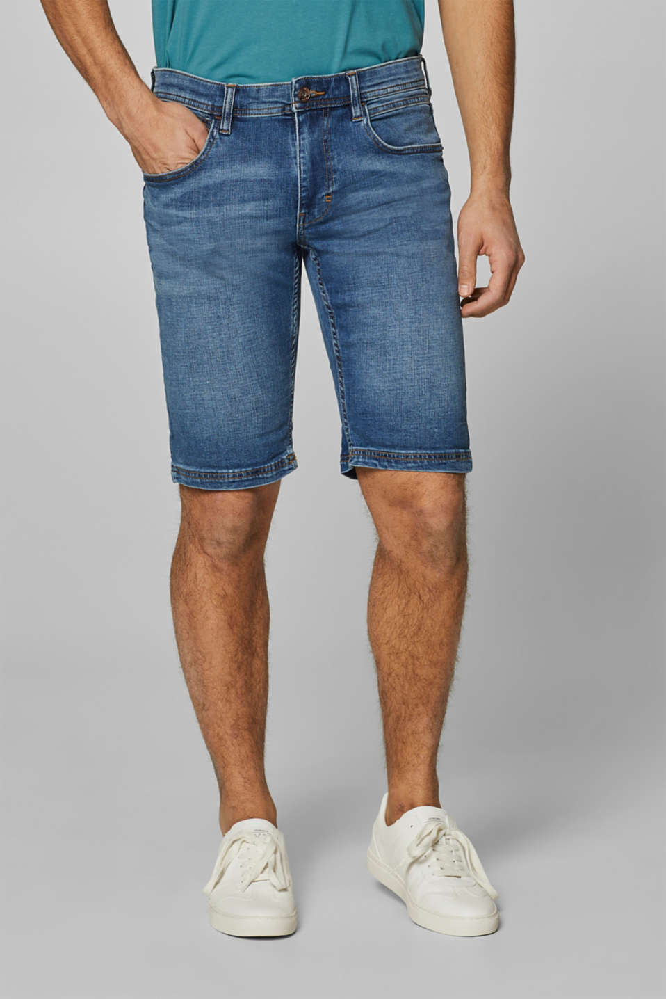 Esprit - Denim short van katoen-stretch