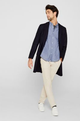 Shirt with linen and a button-down collar, NAVY, detail