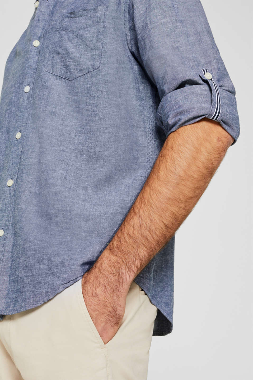 Shirt with linen and a button-down collar, NAVY, detail image number 2