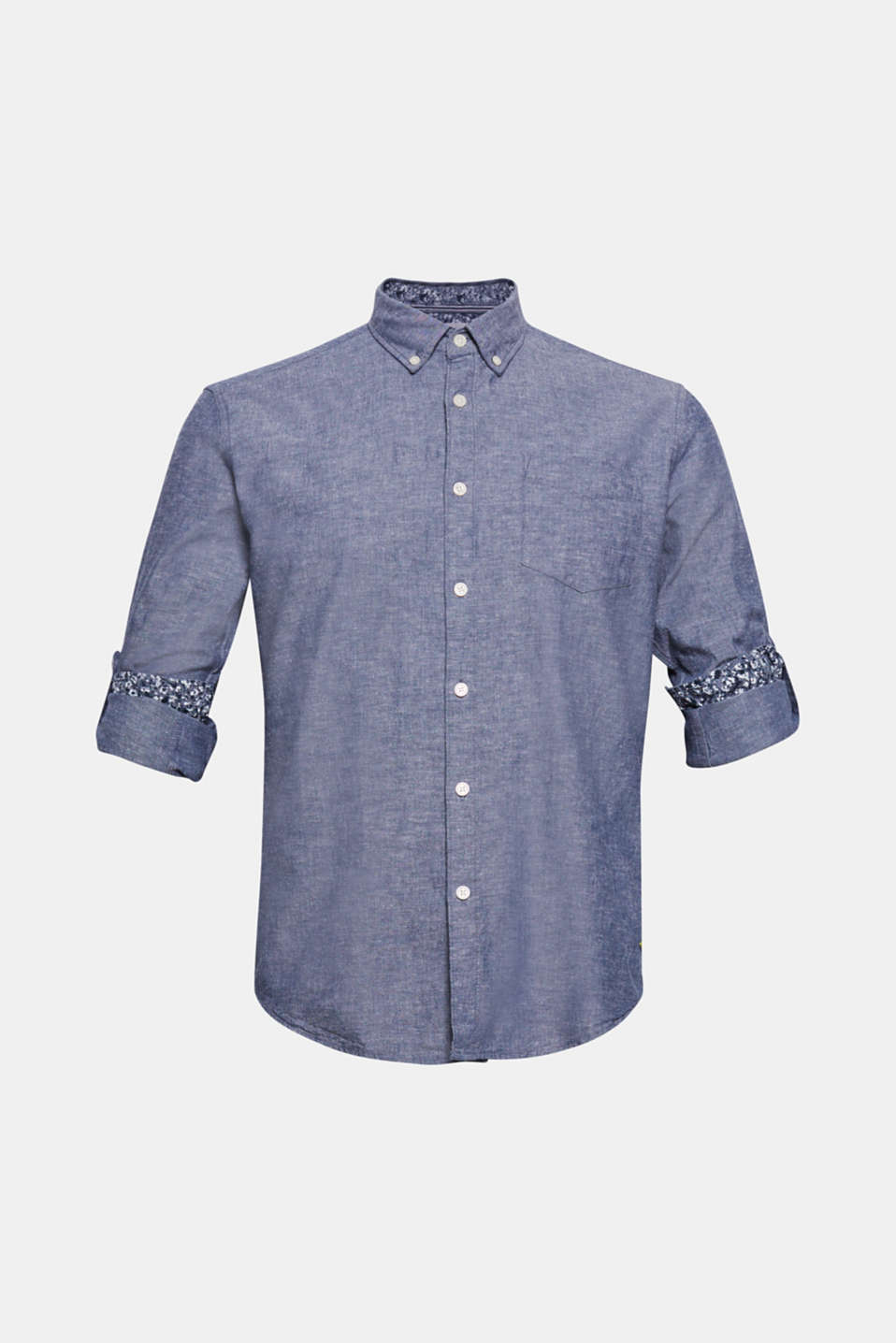 Shirt with linen and a button-down collar, NAVY, detail image number 5