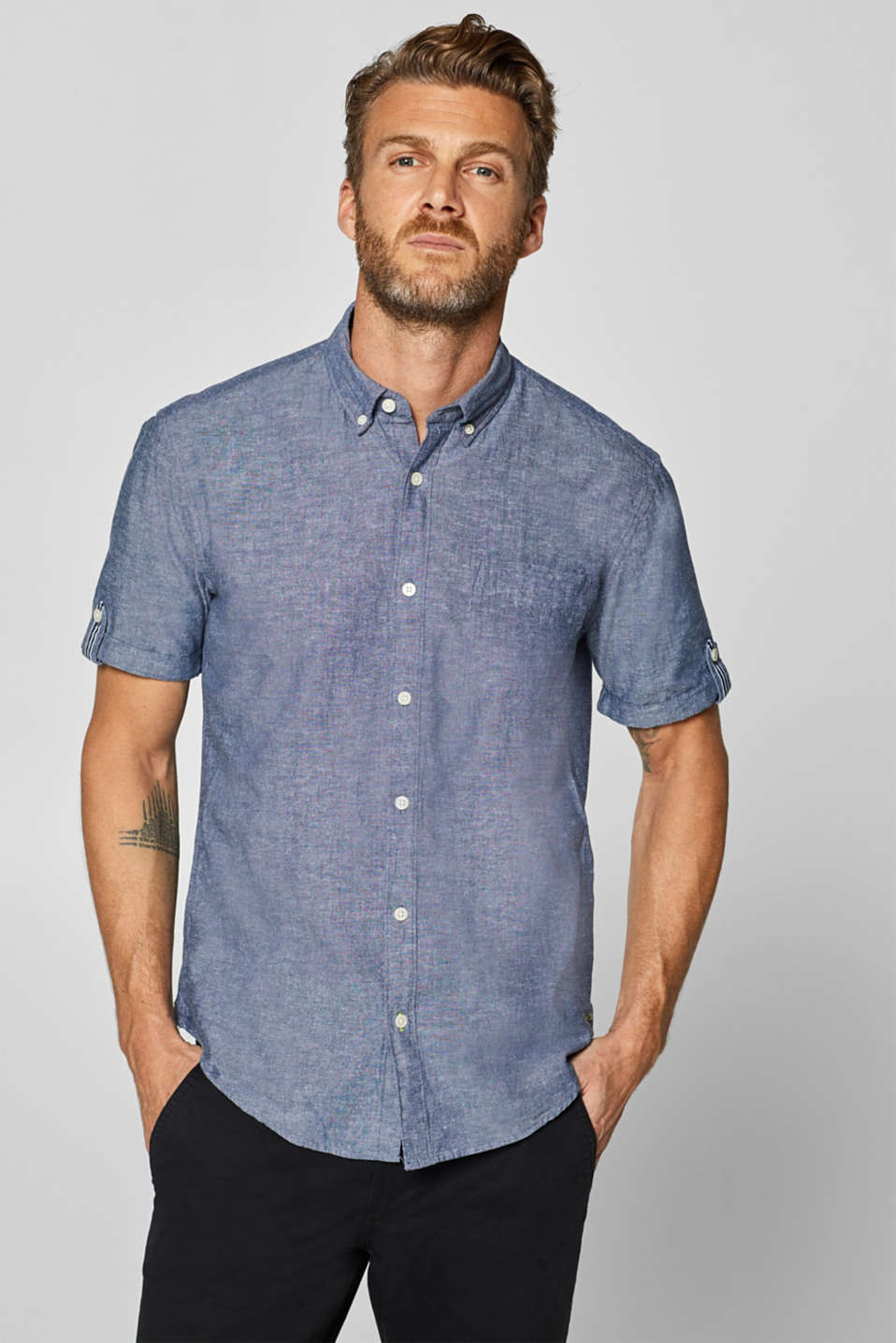 Esprit - Linen blend: Short sleeve shirt with button-down collar