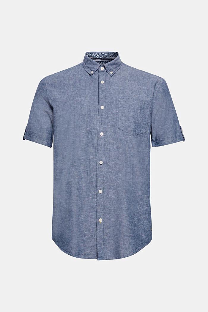 Mit Leinen: Kurzarm-Hemd mit Button-Down-Kragen