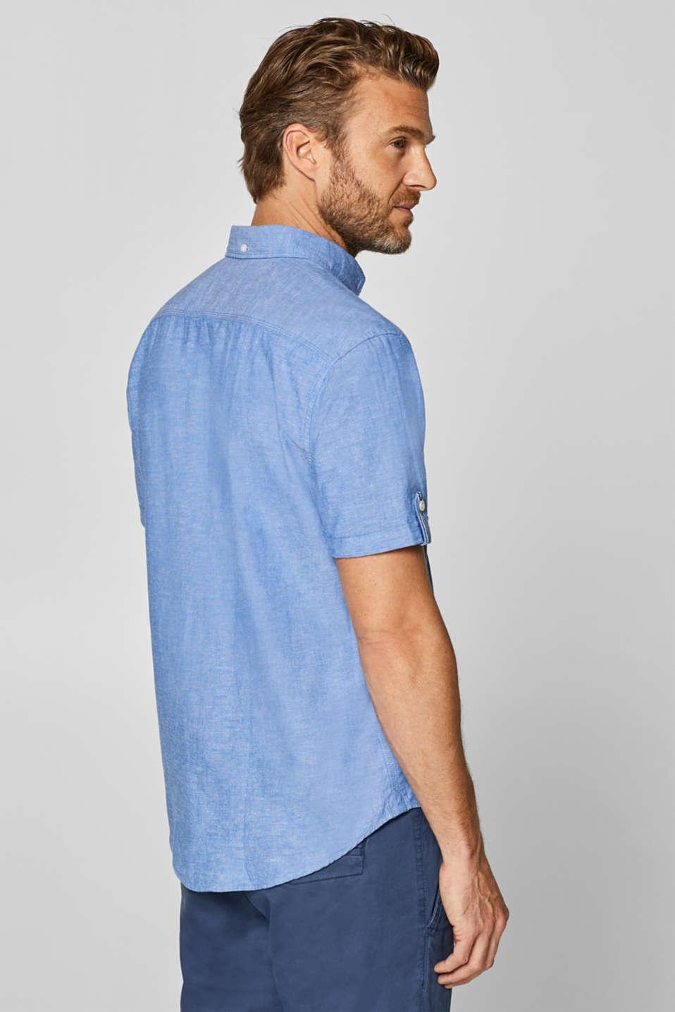 Linen blend: Short sleeve shirt with button-down collar, LIGHT BLUE, detail image number 3