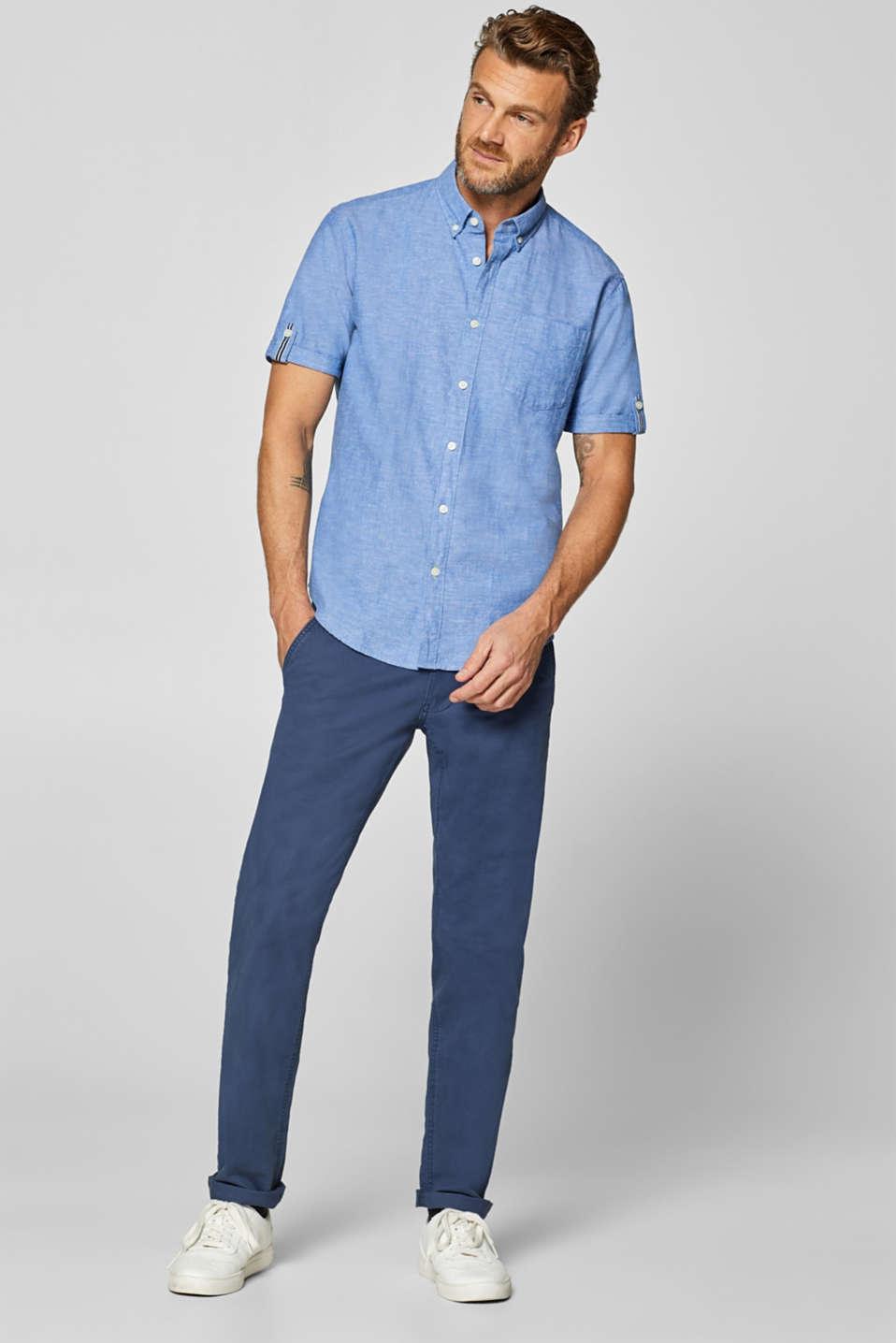 Linen blend: Short sleeve shirt with button-down collar, LIGHT BLUE, detail image number 1