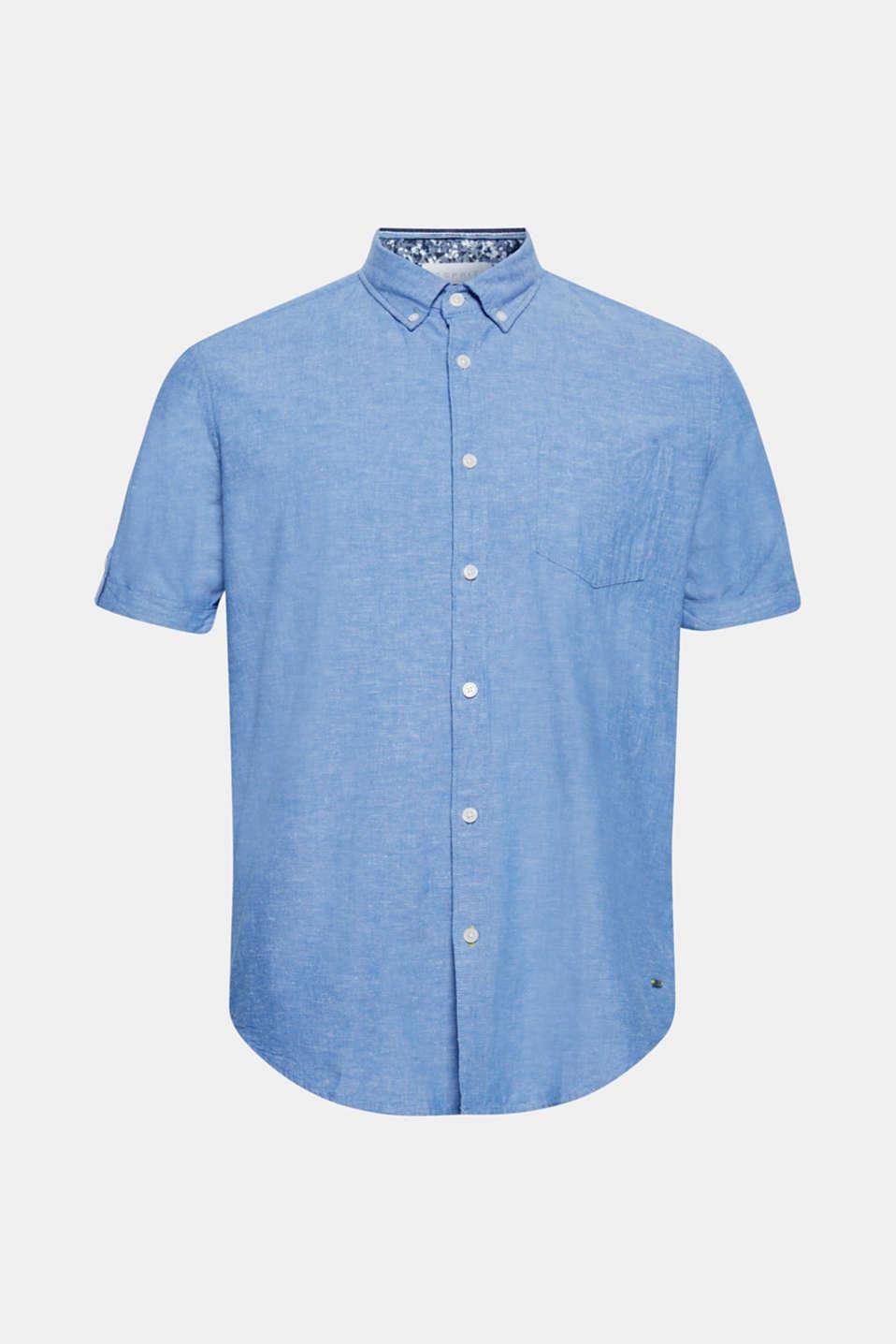 Linen blend: Short sleeve shirt with button-down collar, LIGHT BLUE, detail image number 6