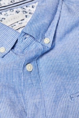 Shirt with linen and a button-down collar