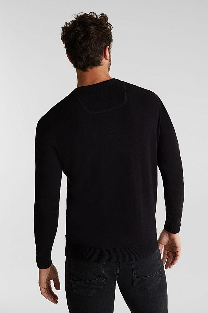 With cashmere: fine knit jumper, BLACK, detail image number 1