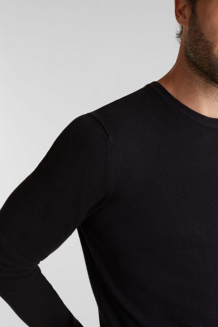 With cashmere: fine knit jumper, BLACK, detail image number 0