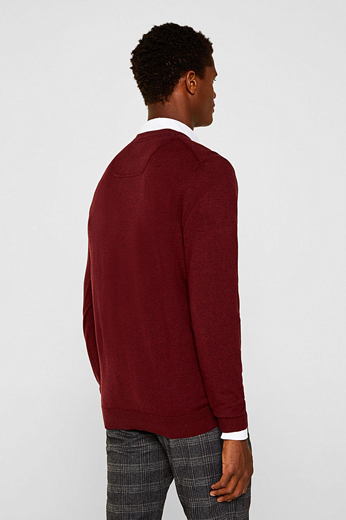 With cashmere: fine knit jumper, DARK RED, detail image number 3