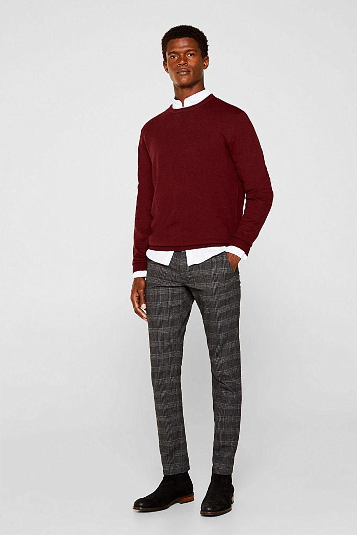 With cashmere: fine knit jumper, DARK RED, detail image number 1