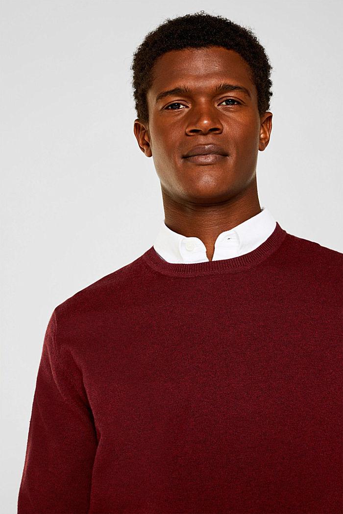 With cashmere: fine knit jumper, DARK RED, detail image number 2