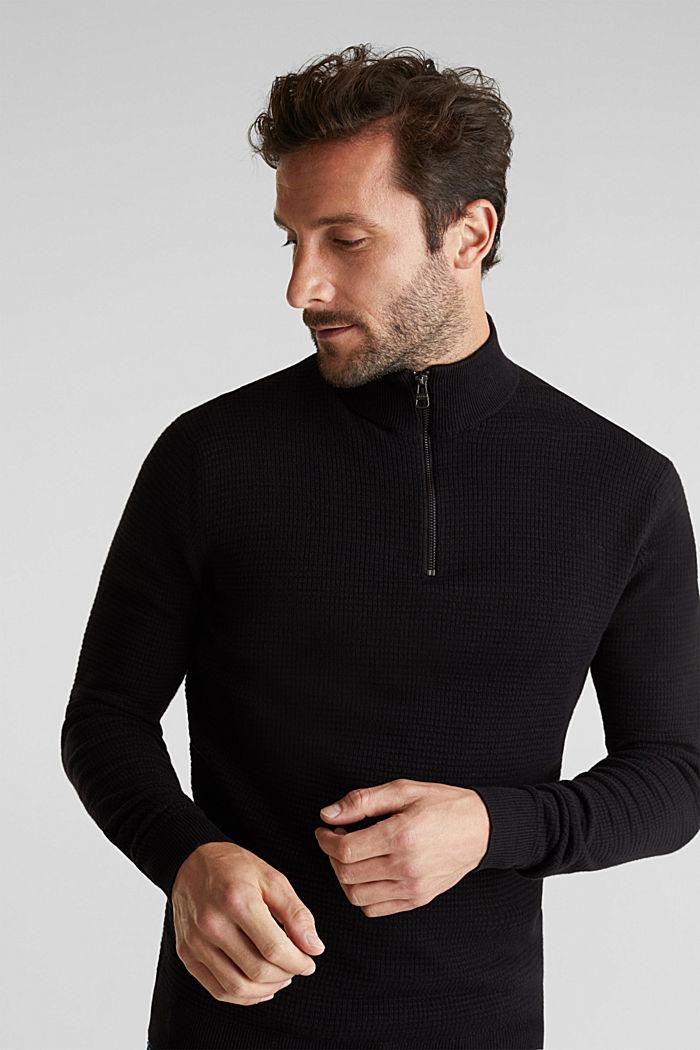 Mit Kaschmir: Sweater aus Strukturstrick, BLACK, detail image number 0