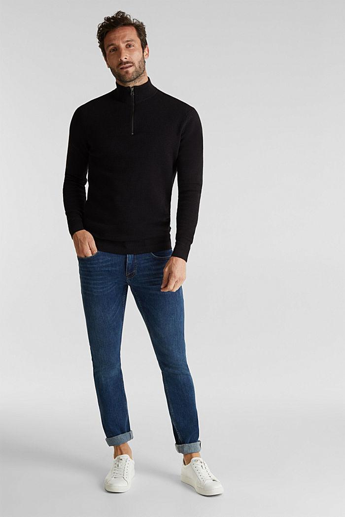 Mit Kaschmir: Sweater aus Strukturstrick, BLACK, detail image number 1