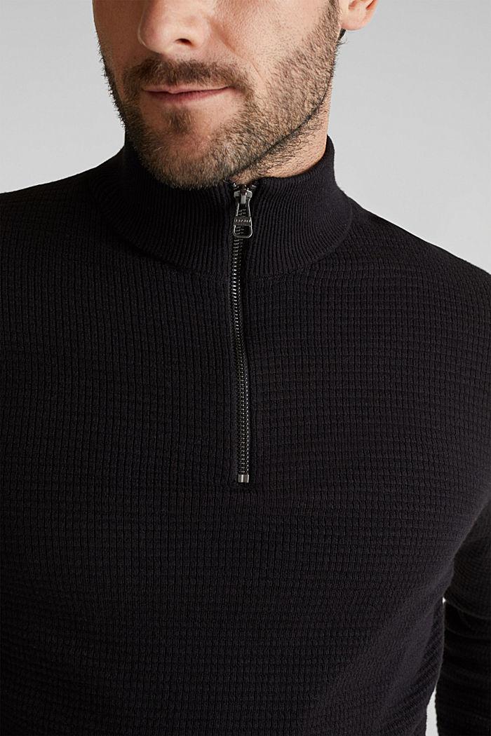 Mit Kaschmir: Sweater aus Strukturstrick, BLACK, detail image number 2