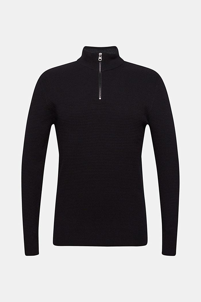 Mit Kaschmir: Sweater aus Strukturstrick, BLACK, detail image number 5
