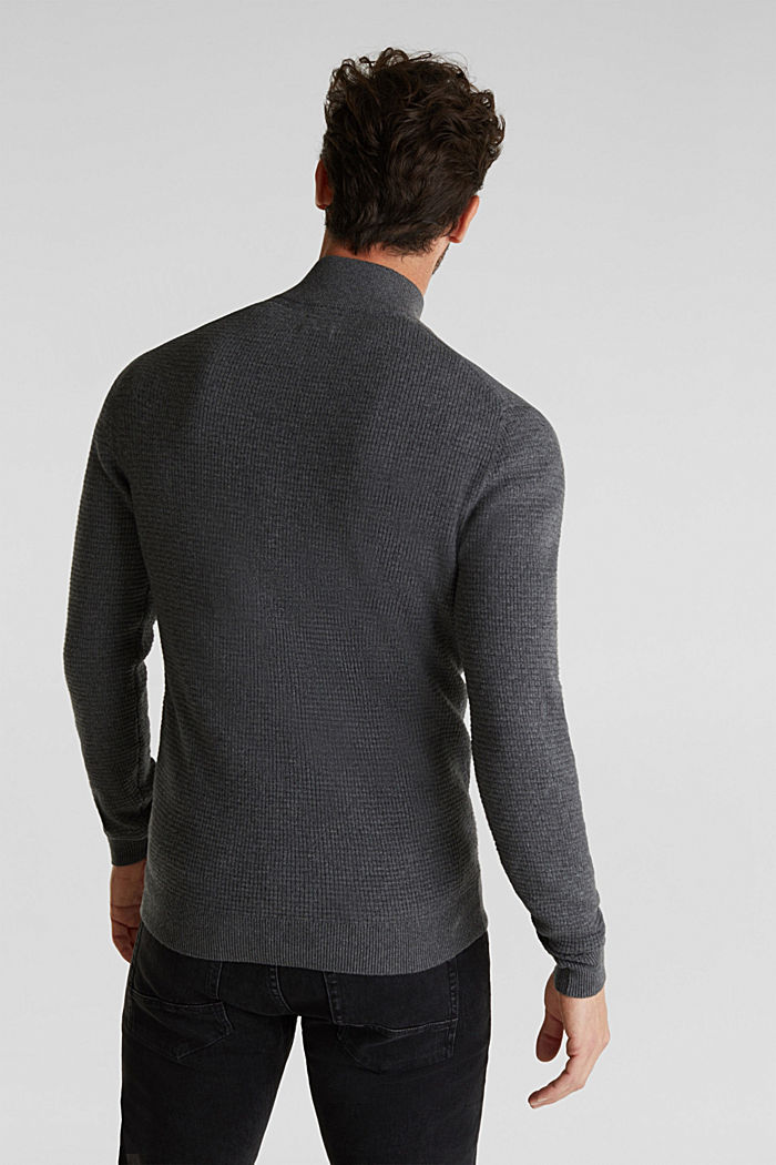 Mit Kaschmir: Sweater aus Strukturstrick, DARK GREY, detail image number 3