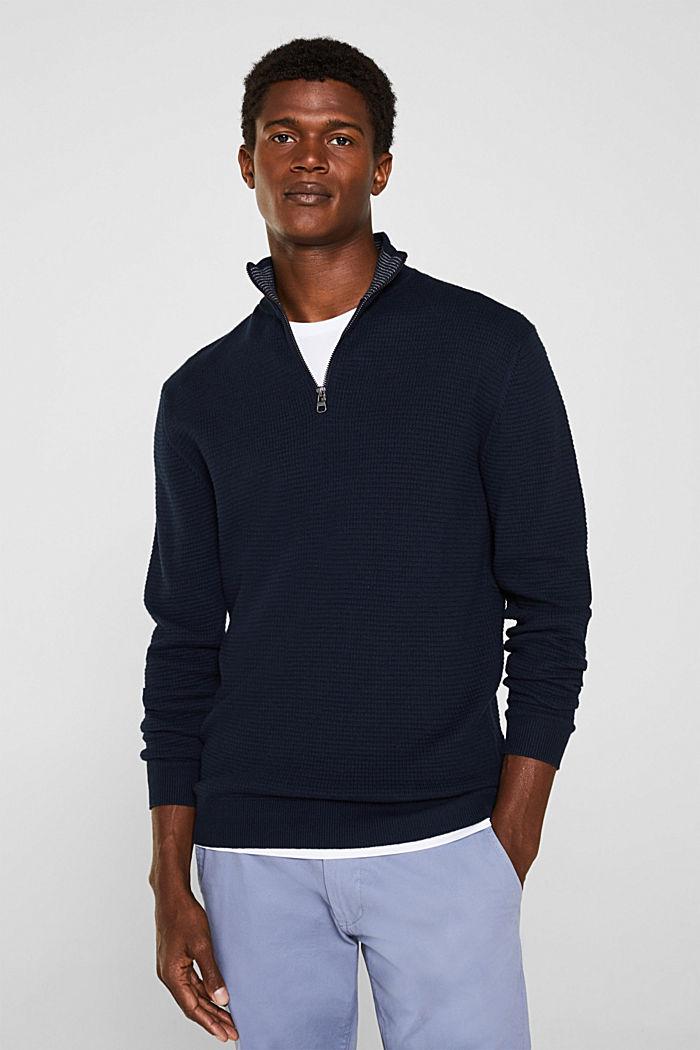 Mit Kaschmir: Sweater aus Strukturstrick, NAVY, detail image number 0