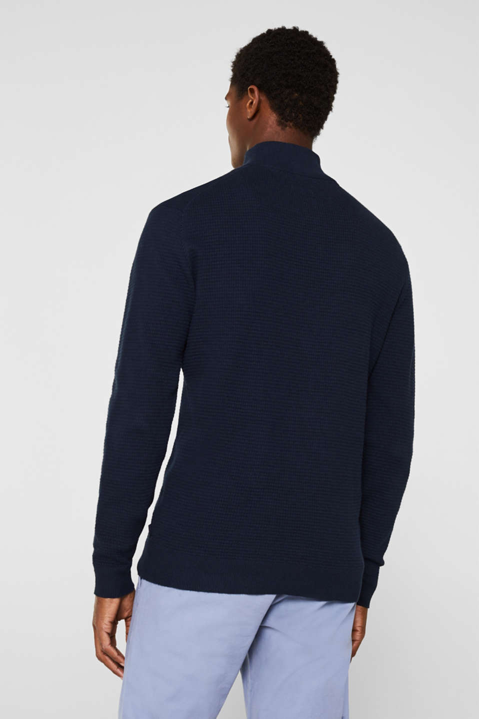 With cashmere: Textured knit jumper, NAVY, detail image number 3