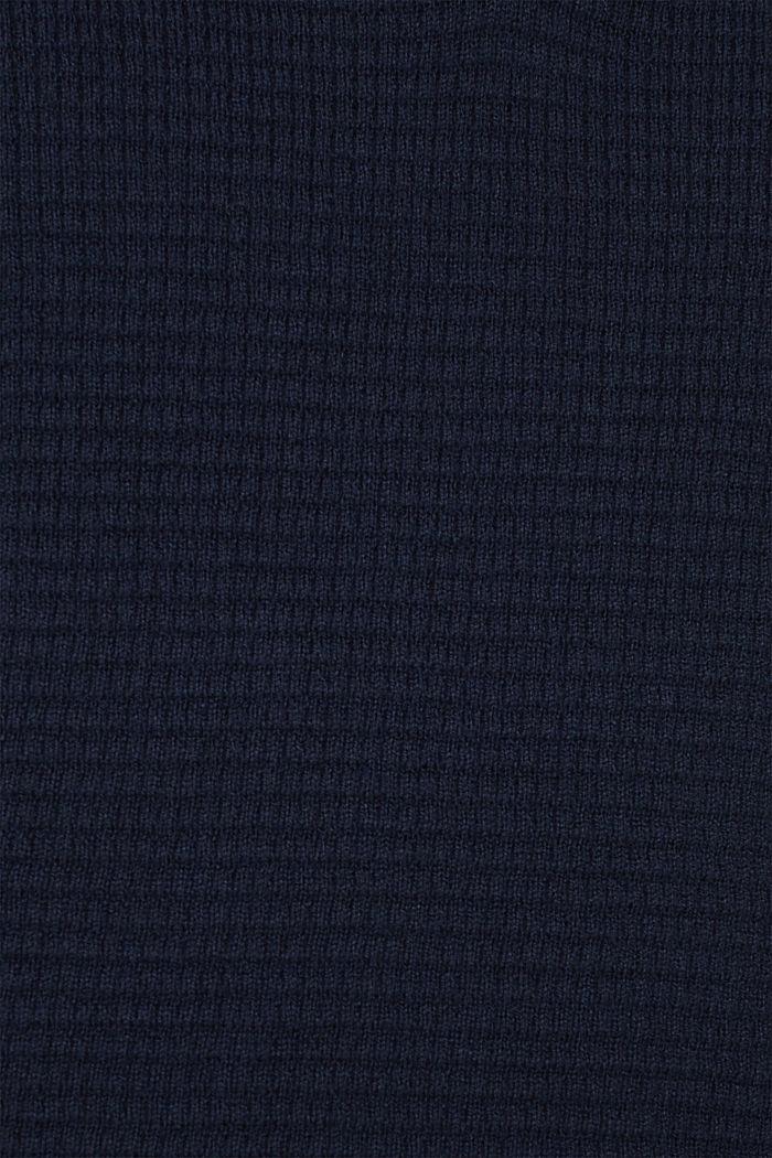 Mit Kaschmir: Sweater aus Strukturstrick, NAVY, detail image number 4