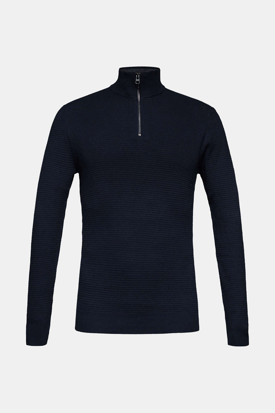 With cashmere: Textured knit jumper, NAVY, detail image number 7