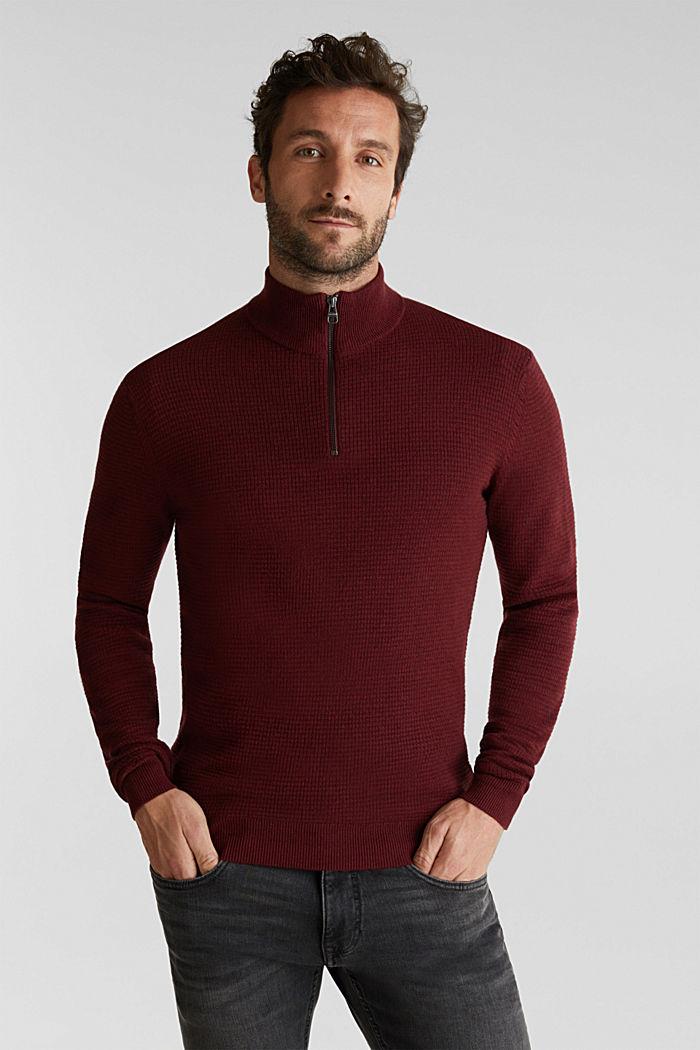 Mit Kaschmir: Sweater aus Strukturstrick, DARK RED, detail image number 0