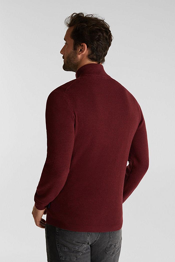 Mit Kaschmir: Sweater aus Strukturstrick, DARK RED, detail image number 3
