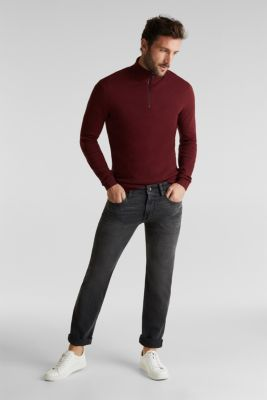 With cashmere: Textured knit jumper, DARK RED, detail